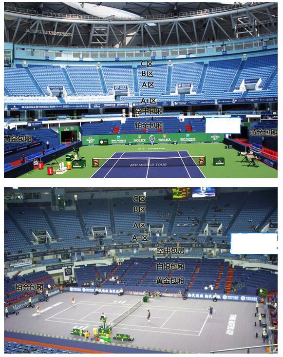 2016上海劳力士网球大师杯赛包厢位置图