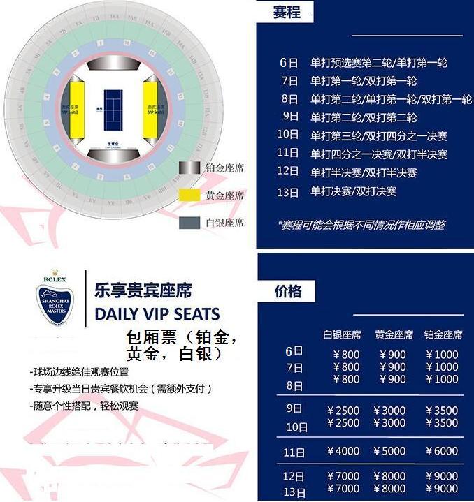 2019上海劳力士网球大师杯赛包厢票